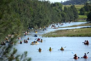 Kayakers muster to protest at the very spot where the Traveston Dam was to be constructed.