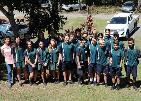 Noosa District High School Year 9 Science Students with Noosa EEHub co-director Dalia Mikhail after presenting their Waterway Health and Waterbug analysis project.