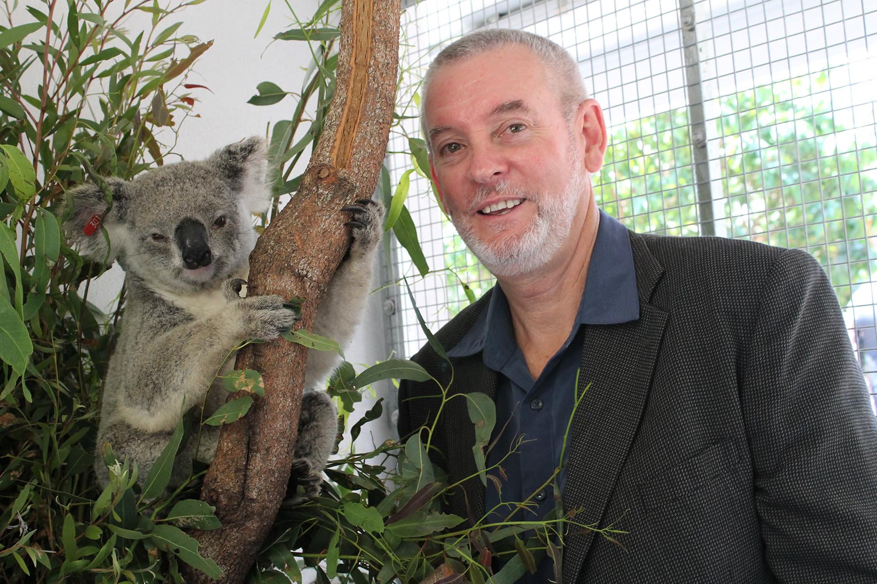 Peter Timms and koala